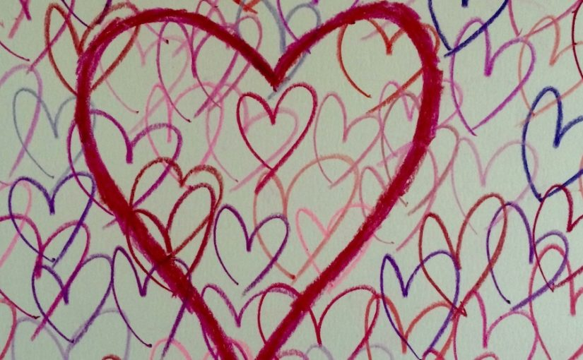 many hearts drawn in crayon